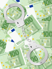 handcuffs on one hundred euros