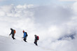 Leinwanddruck Bild - alpinisti in cordata sul Monte Bianco