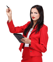 Young business woman with gadget