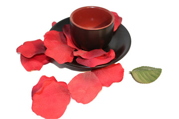 cup with petals,red passion concept