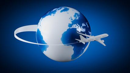 Airplane around Earth