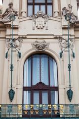 historische Jugendstilfassade in Prag