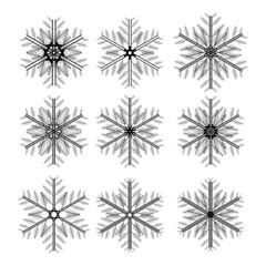 Icon set of snowflakes