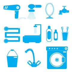 11 icons bathroom blue