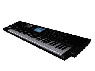Piano électrique sur fond blanc