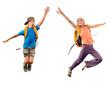 jumping children reaching something together