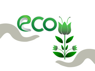 Eco symbol.Hands holding abstract logo vector Illustration