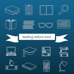reading outline icons