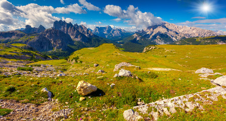 Great view of the Cadini di Misurina range, Cristallo and Sorapi