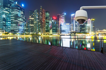 CCTV with prosperous cityscape background
