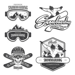 Set of snowboarding emblems, labels and designed elements. Set 2