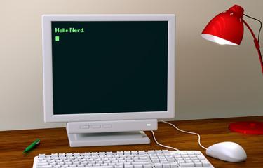 Ein Computer antwortet mit Hello Nerd auf Hello World
