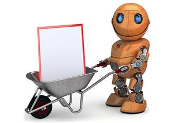 Orangefarbener Roboter mit Schubkarre und Schild  für Werbung