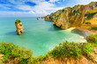 Idyllic beach landscape at Lagos, Algarve, (Portugal) - 70128726