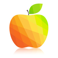 Apple colorful polygonal abstract. Vector illustration.