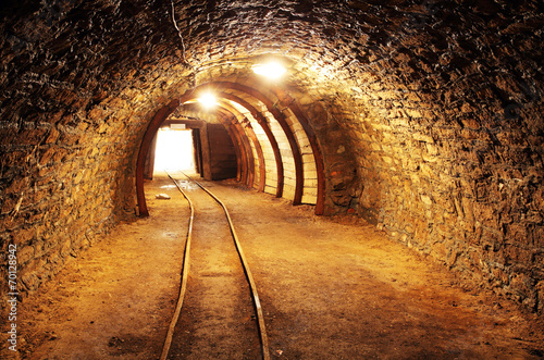 Underground mine tunnel, mining industry - 70128942