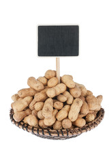 Heap of peanut  in a plate, with a pointer for your text