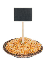 Heap of  pea  in a plate, with a pointer for your text