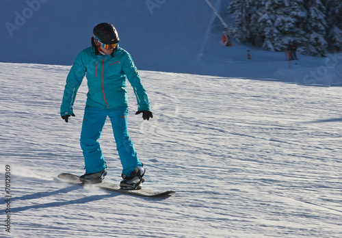 canvas print picture A man is skiing at a ski resort