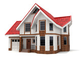 Fototapety House on white background. Three-dimensional image.