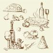 italian food, hand drawn set - pizza