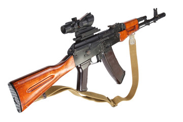 kalashnikov ak 47 with optic sight on white