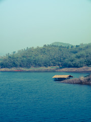 Floating bamboo hut in.Mae Suay reservoir in Chiang rai, Thailan