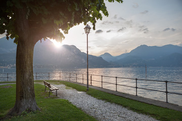 View of Como lake on sunset in Bellagio, Italy