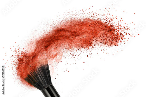 Leinwandbild Motiv makeup brush with red powder isolated