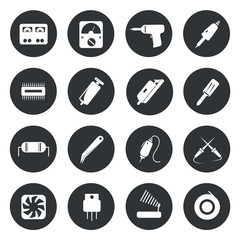 Electronic icons repair equipment. tools vector illustration.