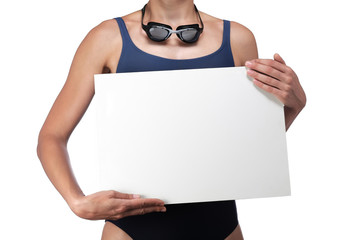 swimmer holding a white billboard