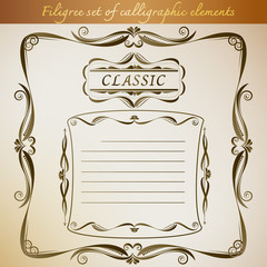 Filigree set of calligraphic elements for frame vintage design.