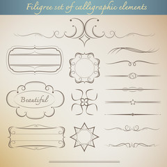 Filigree set of calligraphic elements for vintage design. beauti
