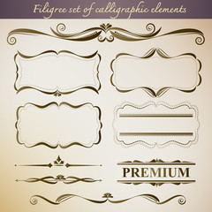 Filigree set of calligraphic elements for vintage design. Create