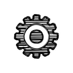 Vector of sketch doodle, gear wheel icon on isolated background