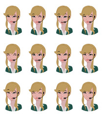 Blonde Woman contact avatar -  Expression set