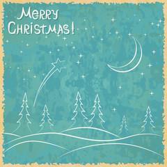 Christmas retro vector card