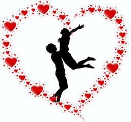 zakochana para i serce z serc