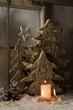 Weihnachtskarte mit Holz und Kerzen - Bastelidee zu Weihnachten