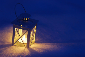 Beautiful lanterns on snow