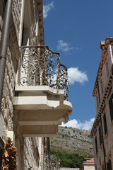 Detail of a palace in Dubrovnik with iron terrace