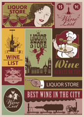 set of retro banners on the wine and  liquor store