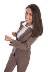 Erfolgreiche junge Karriere Frau isoliert