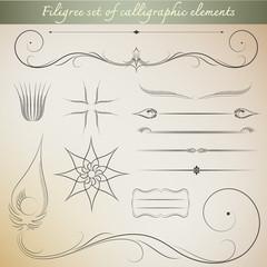 Filigree set of calligraphic elements for vintage design. Vector
