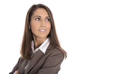 Karriere Frau freigestellt blickt seitlich oben zum Text