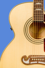 Classical acoustic guitar fragment with six strings
