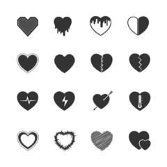 Heart black icons set