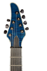 Closeup head blue guitar