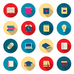 Learning education color icons set