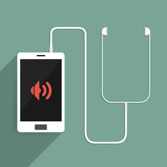 Smartphone is connected to the headset. vector illustration.